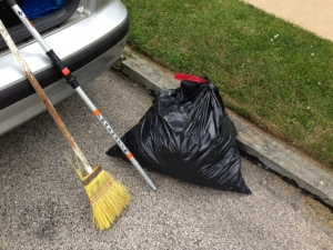 Trash bag, broom and TrashStik
